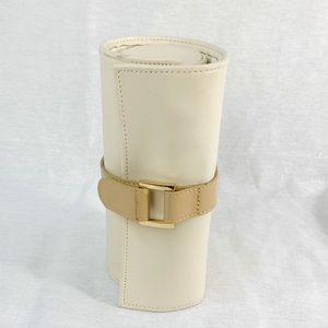 Jewelry Roll Ivory Leather Removable Center